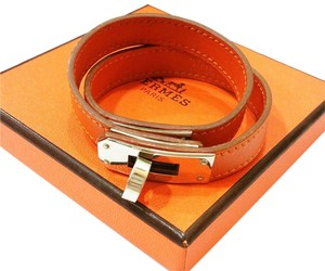 Hermès Hermes Signature Orange Kelly Double Tour Palladium Bracelet