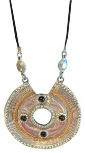 Express Express Two-Tone Large Medallion with Black Accents Necklace