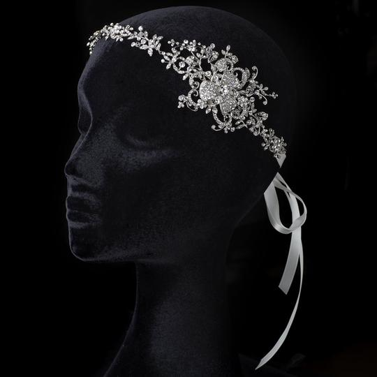 Elegance by Carbonneau Silver Floral Ribbon Headband Or Belt Hair Accessory