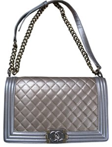 Chanel gold with silver grey trim Messenger Bag