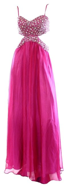 Item - New Berry Pink Embellished Women's Cutout Long Night Out Dress Size 16 (XL, Plus 0x)