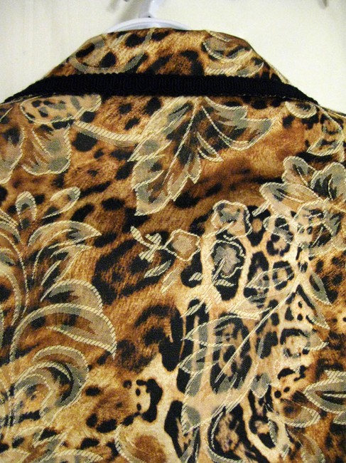 Giancarlo Ferrari Animal Print Zip Front Beige Brown Black Jacket