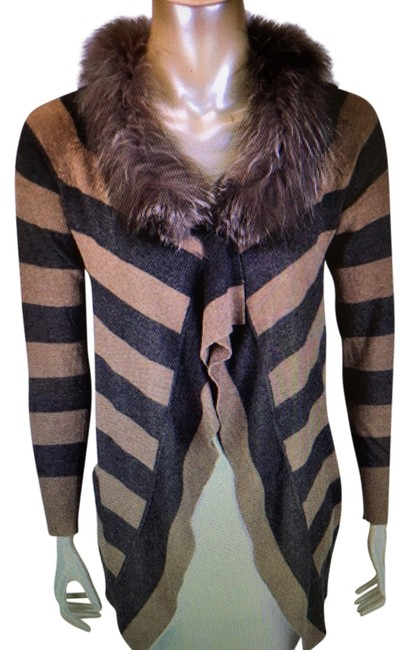 Item - Racoon Fur Long Sleeved Cardigan Brown and Grey Sweater