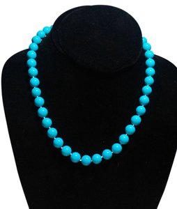 Turquoise Blue Gemstone Necklace Round 10mm 18 in. J1995