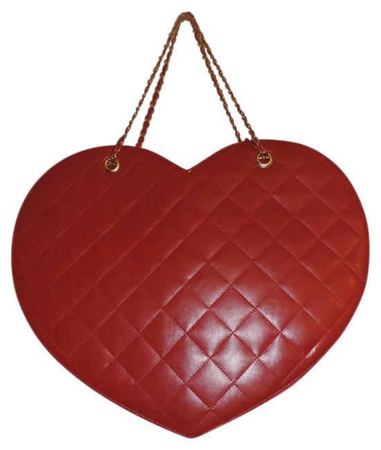 Item - Heart Shaped Quilted Purse Red Faux Leather Shoulder Bag