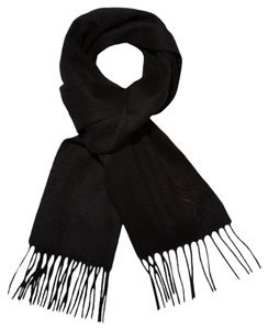 Saint Laurent YSL Embroidered Logo Wool Scarf