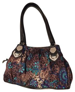 Genna De Rossi Tote in Leopard with teal/pink flowers