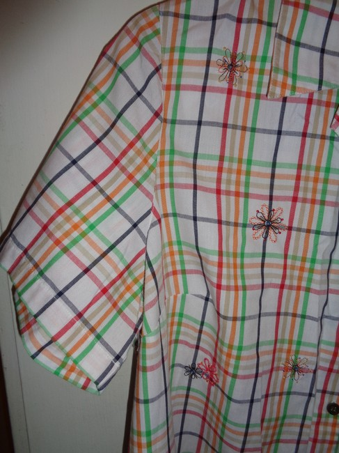 Alfred Dunner Button Down Shirt white with multi colors squared design, embroidered flowers on front Image 1
