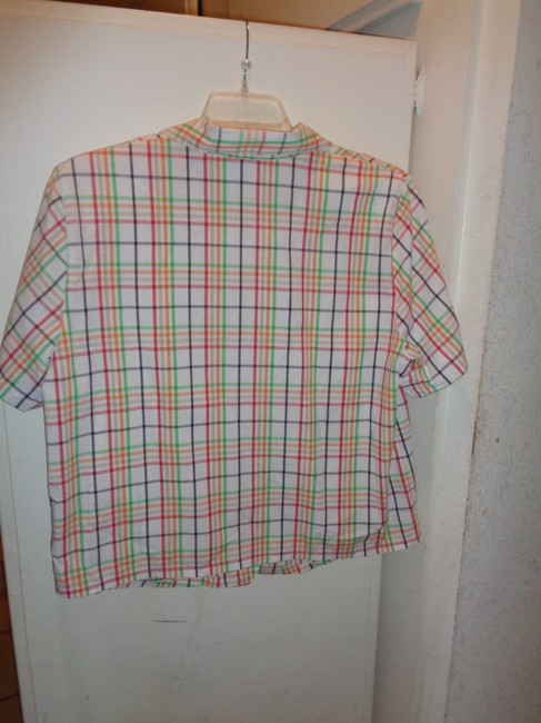 Alfred Dunner Button Down Shirt white with multi colors squared design, embroidered flowers on front Image 2