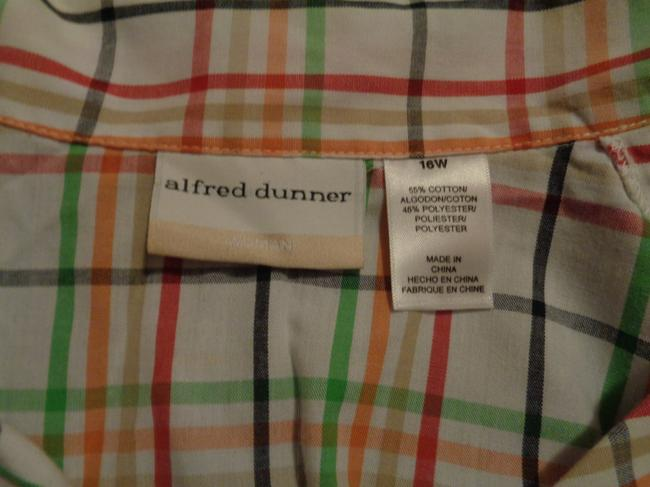 Alfred Dunner Button Down Shirt white with multi colors squared design, embroidered flowers on front Image 3