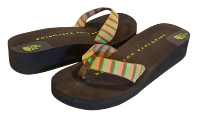Item - Black Peach and Green Like New Mini Wedge Woven Thong Flip Flop Sandals Size US 10 Regular (M, B)