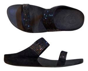 FitFlop Suede Beaded Crystal Navy Glam Blue Sandals