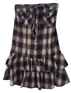 Poetry short dress Black Plaid Ruffles Pockets Tie on Tradesy