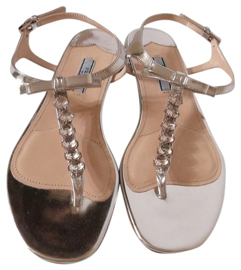 Prada Flats 38.5 New 38.5 38.5 Chanel 38.5 Silver Sandals