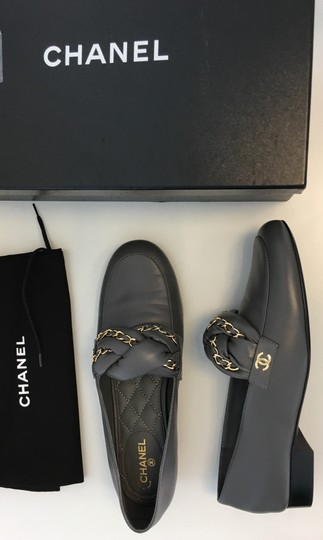 Chanel Chain Braided Cc Moccasin Grey Flats