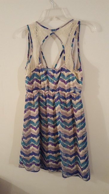 Other short dress Purple & Blue Multi Print Lace Trim Keyhole Back on Tradesy