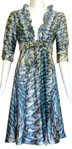 Roberto Cavalli Silk Wrap V-neck A-line Ruffle Dress