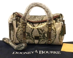 Dooney & Bourke Python Leather Satchel in Gold Brown