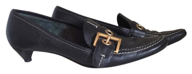 Item - Black Pebbled Leather Gold Buckle Leather Pointed Toe White Stitching Flats Size US 6.5 Regular (M, B)