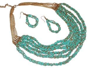 Other Turquoise Chunky Multi Layer Twisted Seed Beads Necklace Set