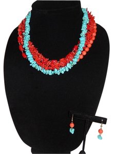 Other Chunky Coral & Turquoise Beaded Chocker Set