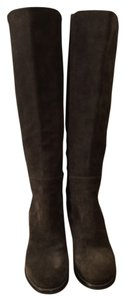 Moncler Brown suede/black elastane panels Boots