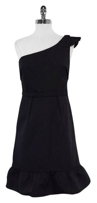 Vera Wang short dress Black Textured One Shoulder on Tradesy