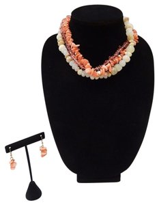 Multi Layer Natural Bamboo & Coral Stone Necklace Set