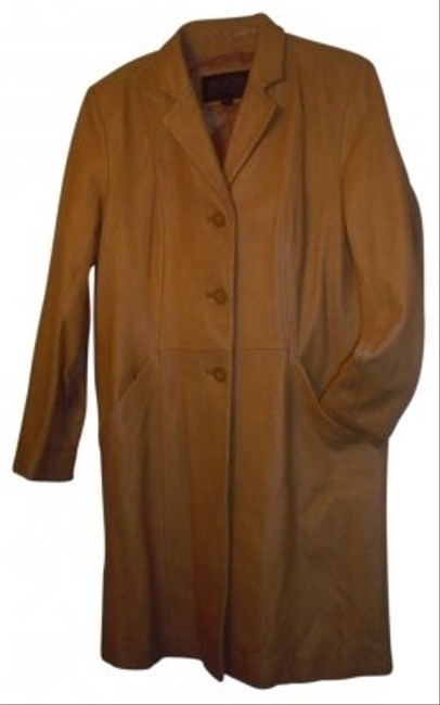 Item - Light Carmel Name: Mid Length Color Leather with Pockets. Coat Size 12 (L)