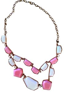 Pink and White Bib Necklace Gold Chain J276