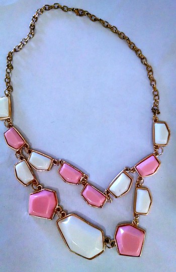 Other Pink and White Bib Necklace Gold Chain J276