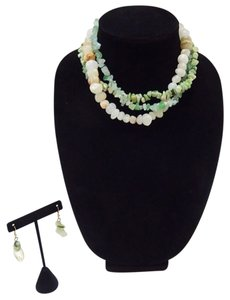 Multi Layer Natural Bamboo & Jade Stone Necklace Set