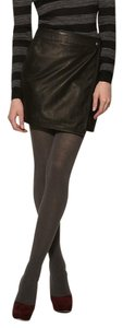 Charlotte Ronson Leather Wrap Mini Night Out Rocker Mini Skirt Black