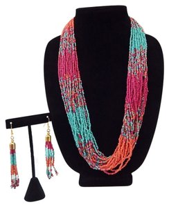 Other Fuchsia, Turquoise Multi Color Seed Beads Necklace Set