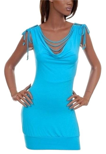 Preload https://img-static.tradesy.com/item/12012289/turquoise-bodycon-bodyfit-w-bias-strips-cowl-neck-fashionista-style-boutique-above-knee-night-out-dr-0-1-650-650.jpg
