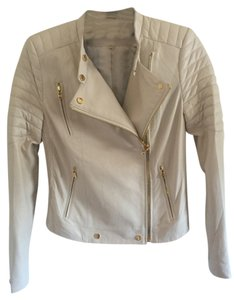 J Brand Leather Gold Details White Leather Jacket