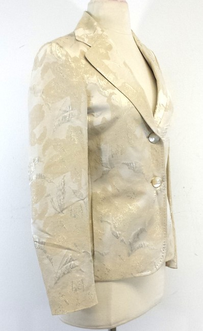 Tombolini Cream Gold Leaf Print Suit Jacket