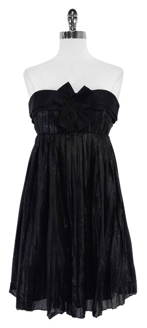 Vera Wang short dress Black Metallic Strapless on Tradesy