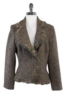 Carmen Marc Valvo Brown Tweed Feather Trim Jacket
