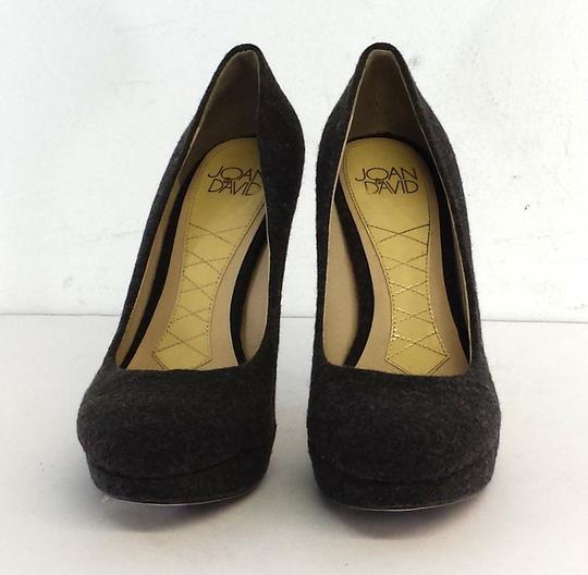 Joan & David Grey Wool Platform Pumps