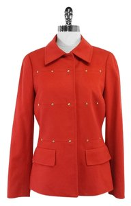 Carlise Red Orange Wool Blend Studded Coat