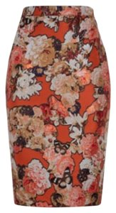 Givenchy Floral Butterfly Pencil Skirt Orange