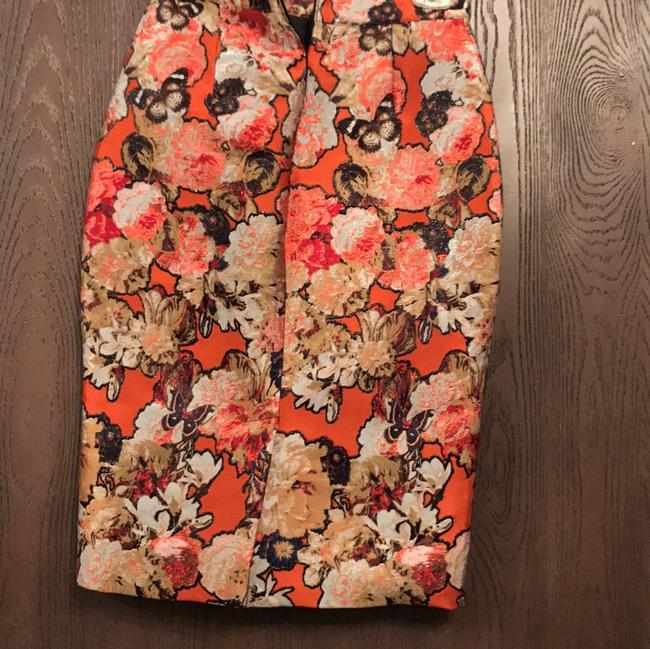 Givenchy Floral Butterfly Pencil Midi Skirt Orange