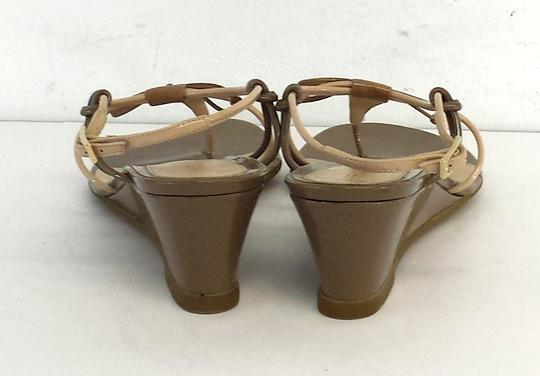Fendi Tan Leather Strappy Wedges