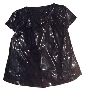 Lalique Live A Little Faux Patent Leather Gaga Capsleeve Top Black