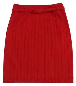 Catherine Malandrino Red Wool Pintuck Skirt
