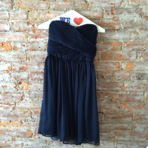 J.Crew Navy Blue Chiffon Arabelle Formal Bridesmaid/Mob Dress Size 00 (XXS)
