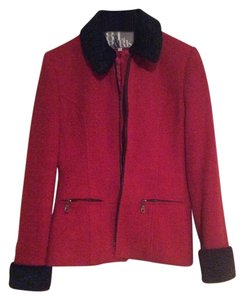 81st and Park Faux Fur Work Red and black Blazer