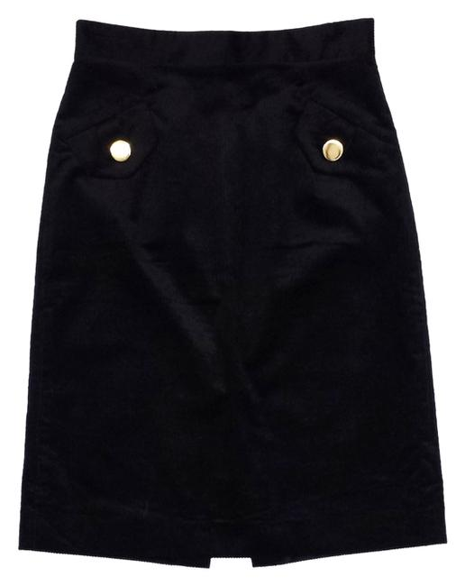 MILLY Black High Waisted Cord Pencil Skirt