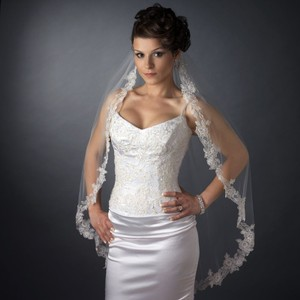 Elegance By Carbonneau White Floral Embroidery Edge Fingertip Length Wedding Veil With Pearls